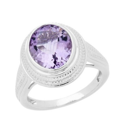 Rings - 2.50 Carat Oval Cut Amethyst Ring in 925 Sterling Silver