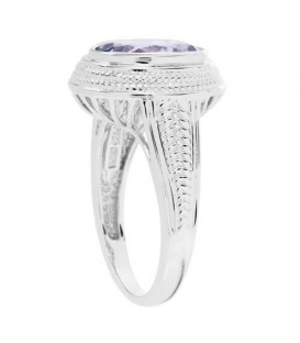 2.50 Carat Oval Cut Amethyst Ring in 925 Sterling Silver