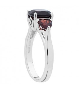 2.80 Carat Cushion Cut Garnet Ring in 925 Sterling Silver