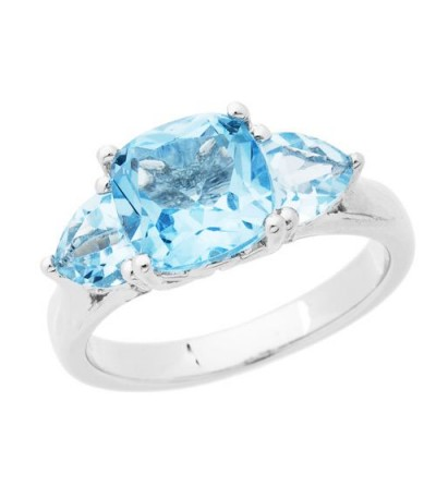 Rings - 3.50 Carat Cushion Cut Blue Topaz Ring 925 Sterling Silver