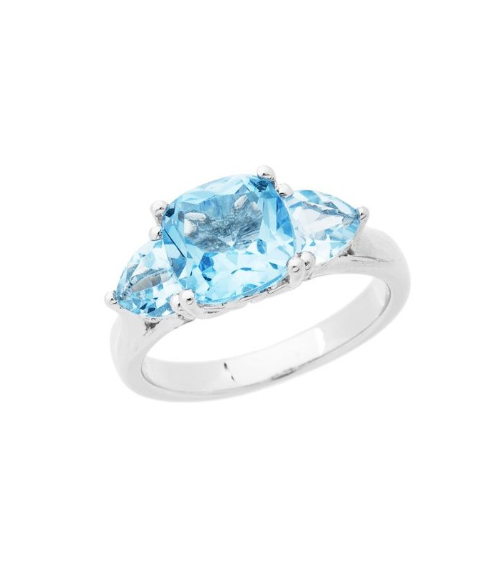 Cushion Cut 3 40ct Blue Topaz Ring 925 Sterling Silver Amoro