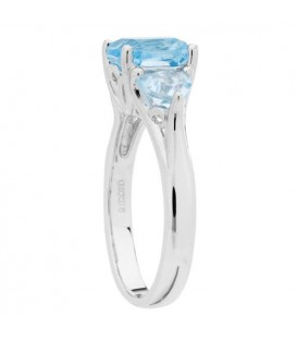 3.40 Carat Cushion Cut Blue Topaz Ring 925 Sterling Silver