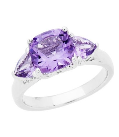 Rings - 2.50 Carat Cushion Cut Amethyst Ring 925 Sterling Silver