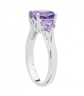 2.50 Carat Cushion Cut Amethyst Ring 925 Sterling Silver