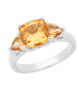 Rings - 2.50 Carat Cushion Cut Citrine Ring in 925 Sterling Silver