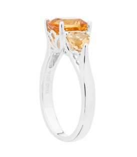 2.50 Carat Cushion Cut Citrine Ring in 925 Sterling Silver
