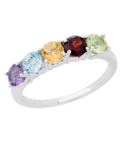 Rings - 1.05 Carat Round Cut Multi-color Ring 925 Sterling Silver