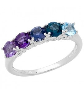 Rings - 1.03 Carat Round Cut Multi-color Ring 925 Sterling Silver