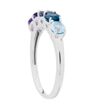 1.03 Carat Round Cut Multi-color Ring 925 Sterling Silver