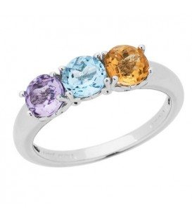 Rings - 1.15 Carat Round Cut Amethyst, Blue Topaz and Citrine Ring Sterling Silver