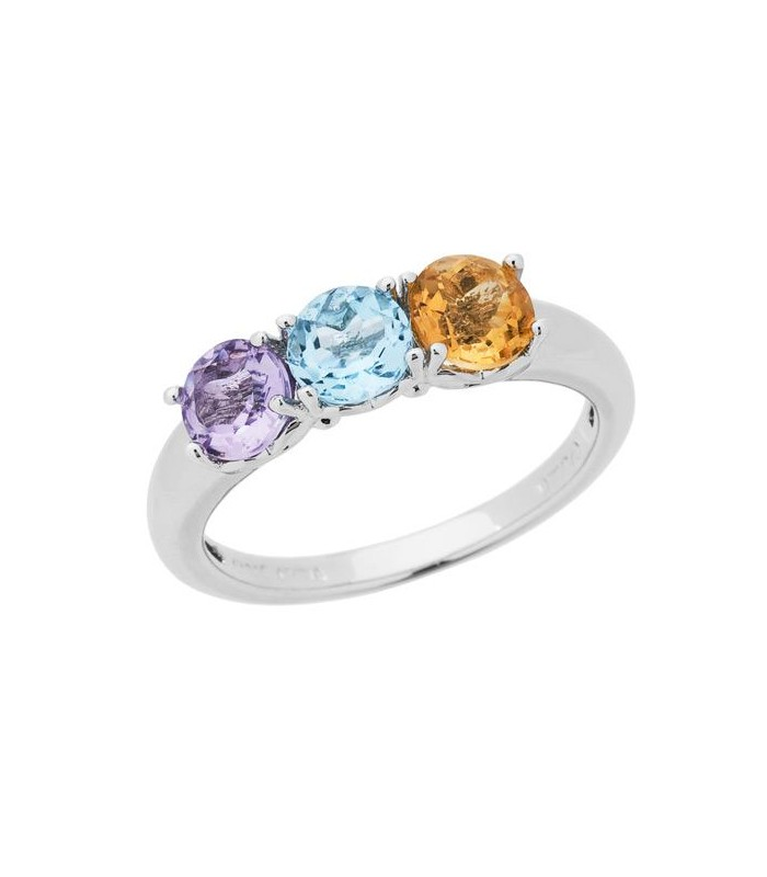 Round Cut 1 15ct Amethyst Blue Topaz And Citrine Ring Amoro