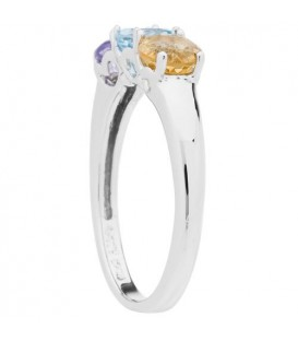 1.15 Carat Round Cut Amethyst, Blue Topaz and Citrine Ring Sterling Silver