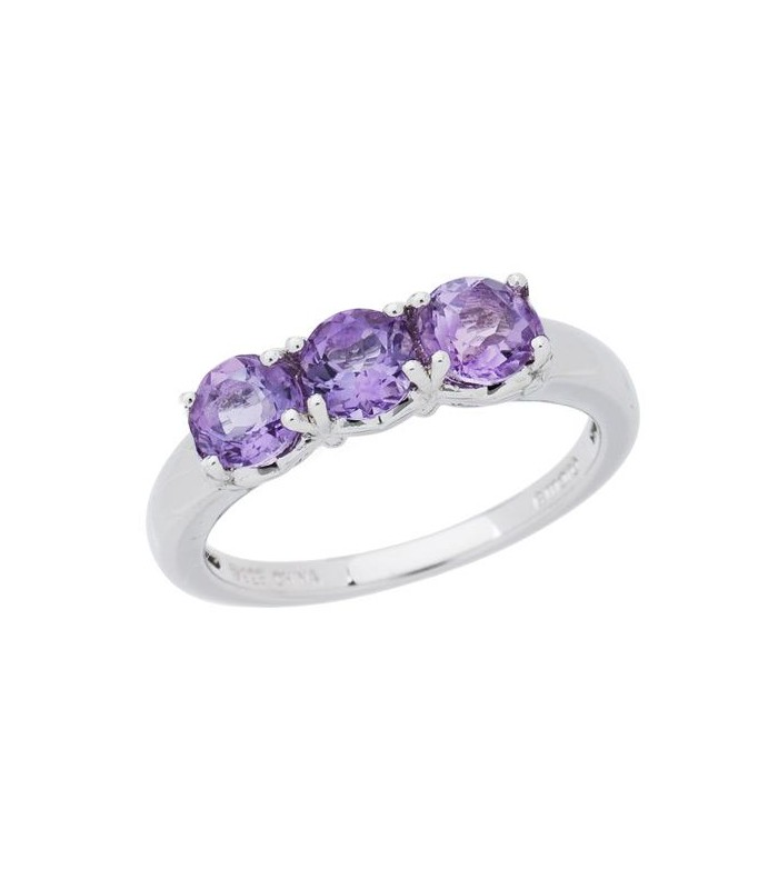 1.05 Ct Round Purple Amethyst 925 Sterling Silver Ring