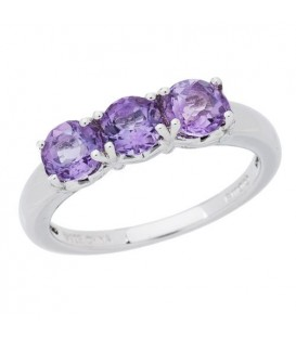 Rings - 1.05 Carat Round Cut Amethyst Ring 925 Sterling Silver