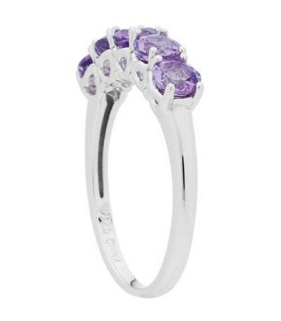 1.05 Carat Round Cut Amethyst Ring 925 Sterling Silver