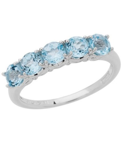 Rings - 1.25 Carat Round Cut Blue Topaz Ring 925 Sterling Silver