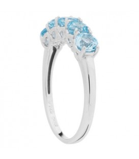 1.25 Carat Round Cut Blue Topaz Ring 925 Sterling Silver