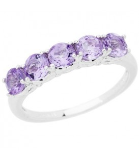 Rings - 1 Carat Round Cut Amethyst Ring 925 Sterling Silver