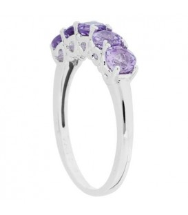 1 Carat Round Cut Amethyst Ring 925 Sterling Silver