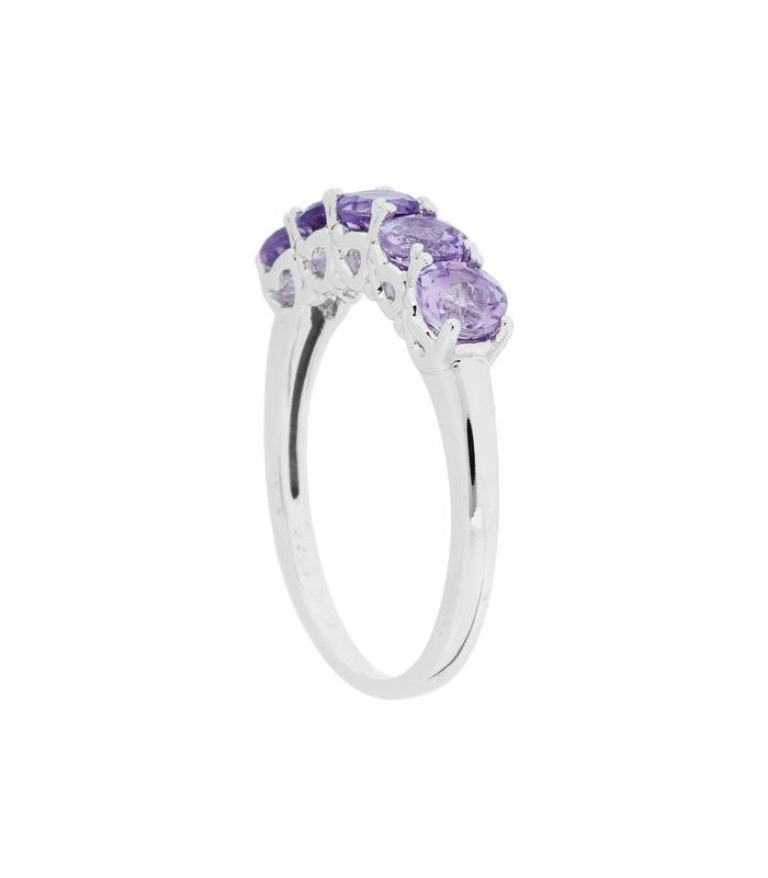 Round Cut 1ct Amethyst Ring 925 Sterling Silver Amoro