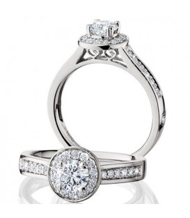 Rings - 0.76 Carat Round Brilliant Eternitymark Diamond Ring 18Kt White Gold