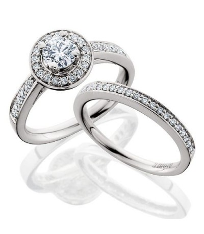 Rings - 0.50 Carat Eternitymark Diamond Ring Bridal Set 18Kt White Gold