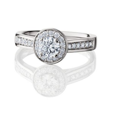 0.88 Carat Eternitymark Diamond Ring Bridal Set 18Kt White Gold