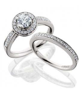 Rings - 1.15 Carat Round Brilliant Eternitymark Diamond Ring Bridal Set 18Kt White Gold