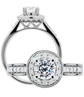 Rings - 0.59Carat Round Brilliant Pristine Hearts Diamond Ring 18Kt White Gold