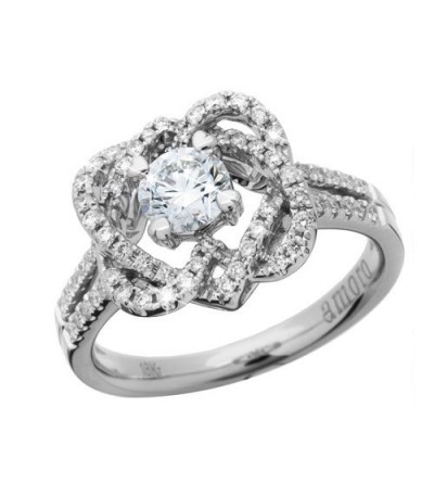 Rings - 0.89 Carat Round Brilliant Eternitymark Diamond Ring 18Kt White Gold