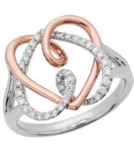 Rings - 0.55 Carat Round Brilliant Diamond Ring 18Kt Rose and White Gold