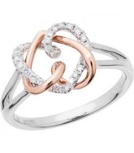 Rings - 0.19 Carat Diamond Ring 18Kt Rose and White Gold