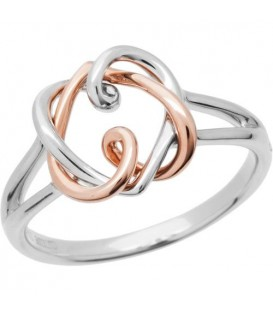 18Kt Rose and White Gold Heart Amoro Ring