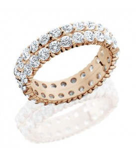 Rings - 2.86 Carat Round Brilliant Diamond Eternity Band 14Kt Rose Gold