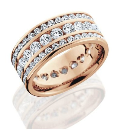 Rings - 3.24 Carat Round Brilliant Diamond Eternity Band 18Kt Rose Gold