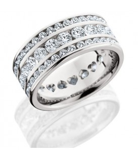 Rings - 3.24 Carat Round Brilliant Diamond Eternity Band 18Kt White Gold