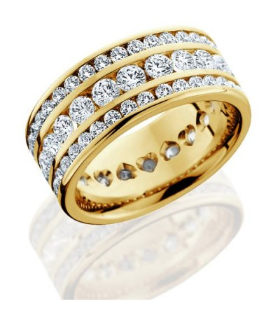 Rings - 3.24 Carat Round Brilliant Diamond Eternity Band 18Kt Yellow Gold