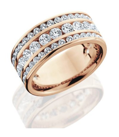 Rings - 2.40 Carat Round Brilliant Diamond Eternity Band 18Kt Rose Gold