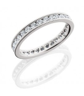 Rings - 1.30 Carat Round Brilliant Diamond Eternity Band 18Kt White Gold