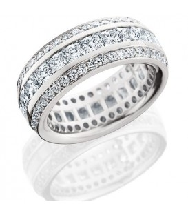 Rings - 3.65 Carat Princess Cut Eternity Band 18Kt White Gold