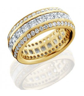Rings - 3.65 Carat Princess Cut Eternity Band 18Kt Yellow Gold
