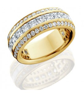 Rings - 2.81 Carat Princess Cut Eternity Band 18Kt Yellow Gold