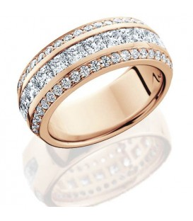 Rings - 1.84 Carat Princess Cut Eternity Band 14Kt Rose Gold