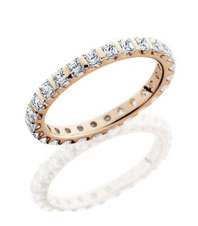 Rings - 1.79 Carat Princess Cut Eternity Band 14Kt Rose Gold