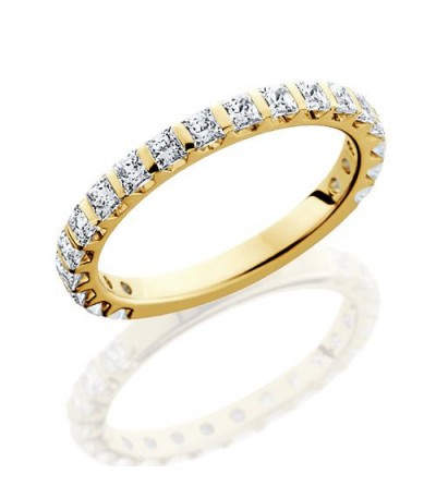Rings - 1.36 Carat Princess Cut Eternity Band 18Kt Yellow Gold