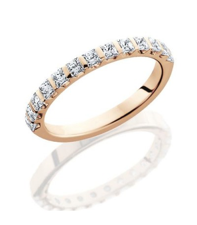 Rings - 0.94 Carat Princess Cut Eternity Band 14Kt Rose Gold