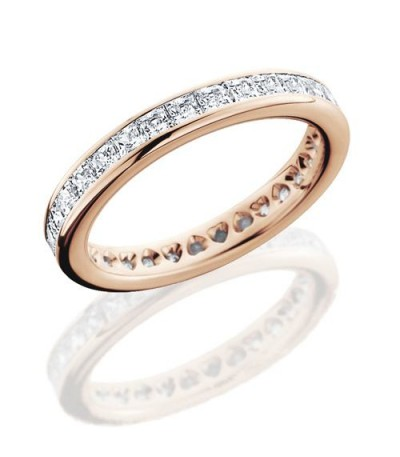 Rings - 2.30 Carat Princess Cut Eternity Band 18Kt Rose Gold