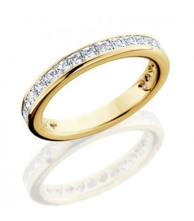 Rings - 1.70 Carat Princess Cut Eternity Band 18Kt Yellow Gold