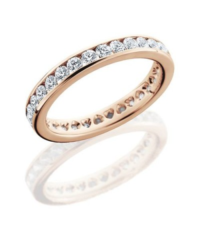 Rings - 1.30 Carat Round Brilliant Eternity Band 18Kt Rose Gold