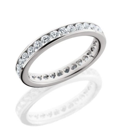 Rings - 1.30 Carat Round Brilliant Eternity Band 18Kt White Gold
